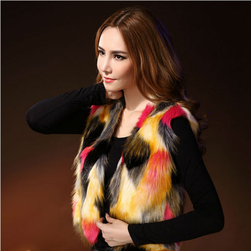 Faxu Fur Vest Women Spring Autumn Sleeveless Jacke...