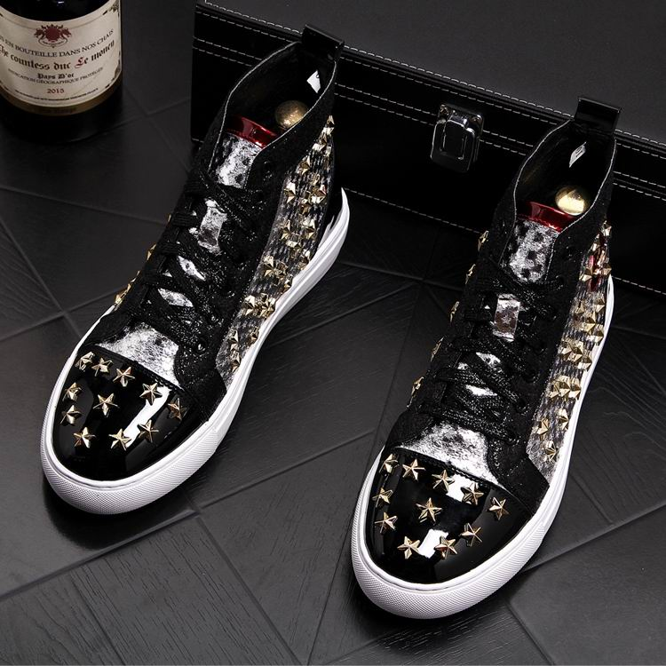 ERRFC Personalized Fashion Men High Top Casual Shoes Luxury Star Rivets Charm Mixed Colors Ankle Boots Man Trending Leisure Shoe 12 Online shopping Bangladesh