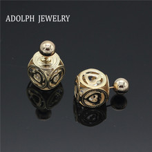 ADOLPH Jewelry Wholesale 2015 Fashion Heart-shaped Hollow Lantern Stud Earrings For Women New Design Earrings Christmas Gift