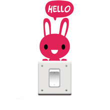 "Lovely Rabbit Say ""Hello"" Switch Stickers Outlets Decor Diy Cartoon Living Room Wall Vinyl Home Decals Animals Mural Art"