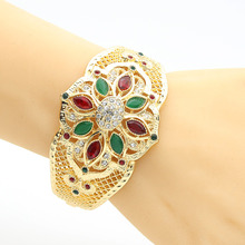 Gorgeous Simulation Jewelry Women Flower Bangle Cuff Hollow Resin Jewelry Bracelet India Bridal Jewelry Arabia Royal Jewelry