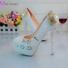 Designer Wedding Shoes 4 Inches Heel Snow White Bridal Dress Shoes Round Toe Platform Pumps Sexy Slip On Prom Shoes EUR 34-45