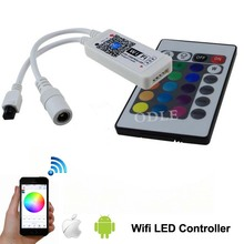16million colors mini Wifi LED RGB Controller dimmer for rgb led strip smartphone control with IR 24key remote DC 9-12V