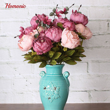 Fake Flowers Vintage Artificial Peony Silk Flowers Wedding Home Decoration silk peony flowers wholesale P25