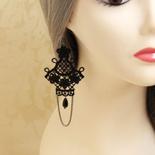 HOT Fashion Street Women Girl Black Lace Chandelier Drop Earrings Vintage Gothic Victorian Style Classic Jewelry Gift