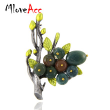 MloveAcc Brand Vintage Elegant Natural Stone Branch Brooches Pins Scarf Clip Antique Color Women Party Brooches & Pins Jewelry(China)