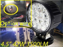 "Free DHL/UPS Ship,4.5"" 42W 3500LM 10~30V,6500K,LED working light;Free ship!Optional wire;motorcycle light,forklift,tractor light"