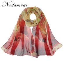 Neelamvar silk scarf ombre floral Scarves Foulard Chiffon Hijab Luxury Brand Scarf Bufandas oblong Cape Head wraps long shawl(China)
