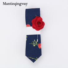 Mantieqingway Casual Cotton Floral Ties for Wedding Buy Necktie Get Free Brooch For Mens Suits Neck Tie Gravatas Cravats(China)