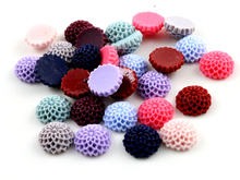 New Fashion 40pcs 12mm Mix Color Melaleuca Flowers Style Flat Back Resin Flower Cabochons Cameo G7-12(China)