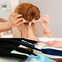 6pcs Fashion Women Magic Tools Foam Sponge Device Quick Messy Donut Bun Hairstyle Girl Hair Bows Band Accessories Silk Headband