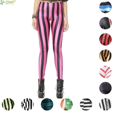 Colorful Stripes Girl Student Pencil Trouser Fashion all-match Zebra Leggings Classical Pants Casual Sportswear Pants Fitness