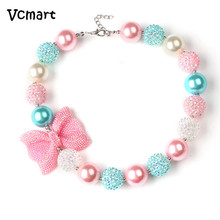 Vcmart 2Pcs Candy Beaded Bubblegum Necklace Kids Birthday Gift Rhinestone Bowknot Girls Chunky Necklace for Toddler(China)