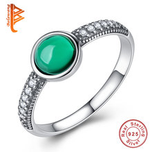BELAWANG Solid 925 Sterling Silver Rings Party Jewelry Green Stone Cubic Zirconia Fashion Rings For Women Anniversary Gift(China)