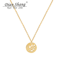 Dainty Olive Leaf Branch Necklaces For Women Twig Jewelry Stainless Steel Silver Rose Gold Chain Pendants Collares Collier Femme(China)
