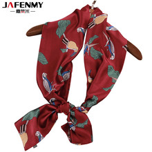 Summer long narrow bag strip small towels tie red parrot scarf women fashion ladies scarves printing female silk scarves