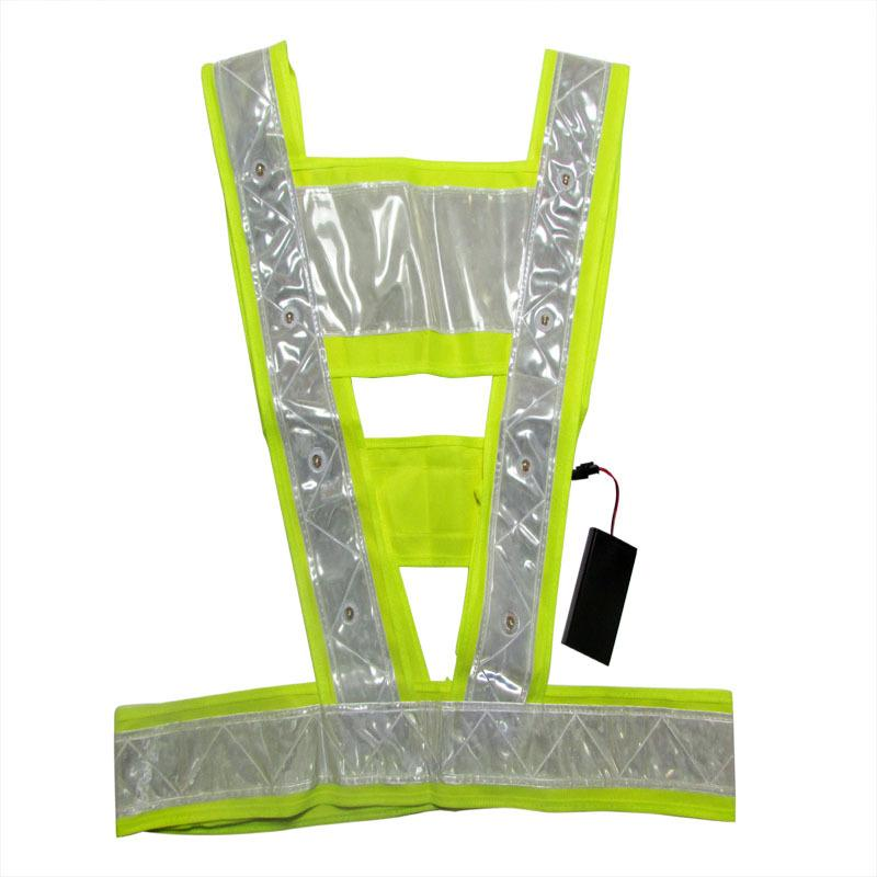 16 LED Light Up Safety Vest With Reflective Stripes Tactical Vest Neon Lime V Clothing Safety Belt Work Cloth 56*50Cm<br><br>Aliexpress