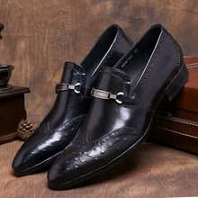 Fashion Black / brown tan pointed toe loafers mens dress shoes genuine leather wedding shoes mens business shoes with buckle(China)