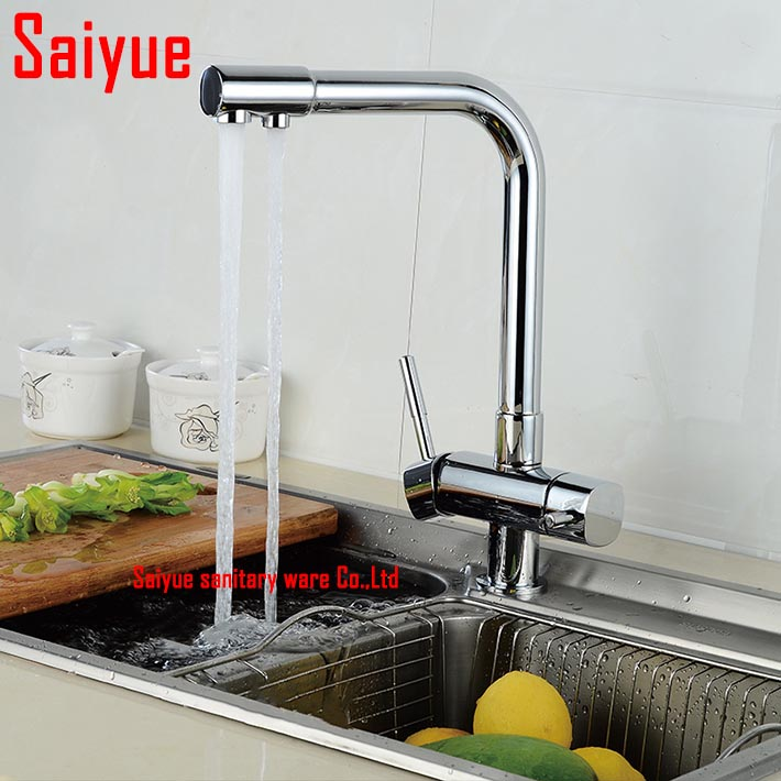 Chrome polished hot and cold water purifier tap 3 Way kitchen sink mixer faucet dual holder single hole  drinking water tap<br><br>Aliexpress
