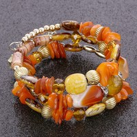 Bohemia Beads Natural Stone Charm Bracelets & Bangles Elastic Multilayer Beaded Women Candy Color Wristbands Pulsera