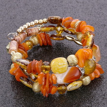 Bohemia Beads Charm Bracelets & Bangles Elastic Multilayer Natural Stone Beaded Women Candy Color Wristbands Pulsera