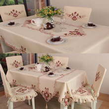 Soft Fabric Embroidery Table Cloth Luxury European Pastoral Rectangle Tablecloth Home Decoration Dining Table Desk Cover