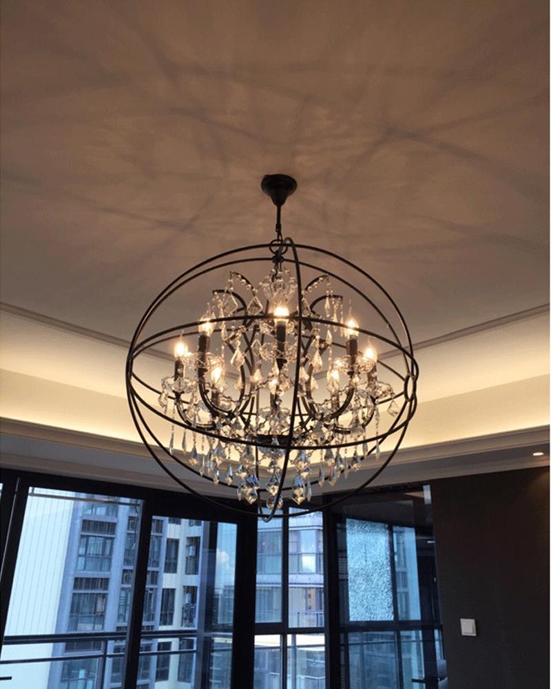 Retro pendant crystal iron ball shape Lamp E14 Nordic industry Vintage Loft american country Art _1Ceiling Lamp-13