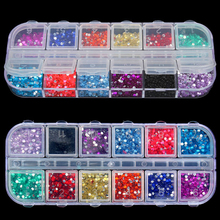 Pro Nail Art Stickers 3000 Pcs Nail Decoration Rhinestones Glitter Art Decoration Decals Beauty Mixed 12 Colors In Case TN