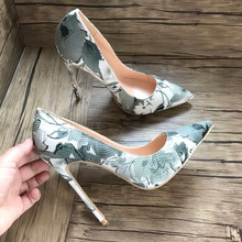 Free shipping hot sale grey white follower printed women lady adult 12cm 100mm high heel shoes pump sexy shoes on sale