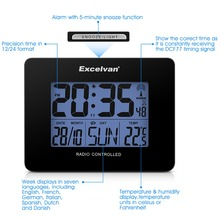 Excelvan Digital Precision Radio Controlled Alarm Clock Thermometer With Temperature Time Calendar Day LCD Backlight Display