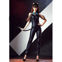 New Arrive!Faux Leather Black Slim Cleopatra Costumes  Straps Sexy Jumpsuit Sexy Cat Suit Cospaly Egyptian Queen Black Halloween