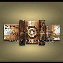 Framed 5 Panel Large Brown Painting Canvas Art Textured Oil Painting 5 Piece Picture Decoration Home   A1000