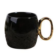 Creative Ceramic Coffee Mug with Gold Handle Glossy Porcelain Tea Cup Black and white color(China)
