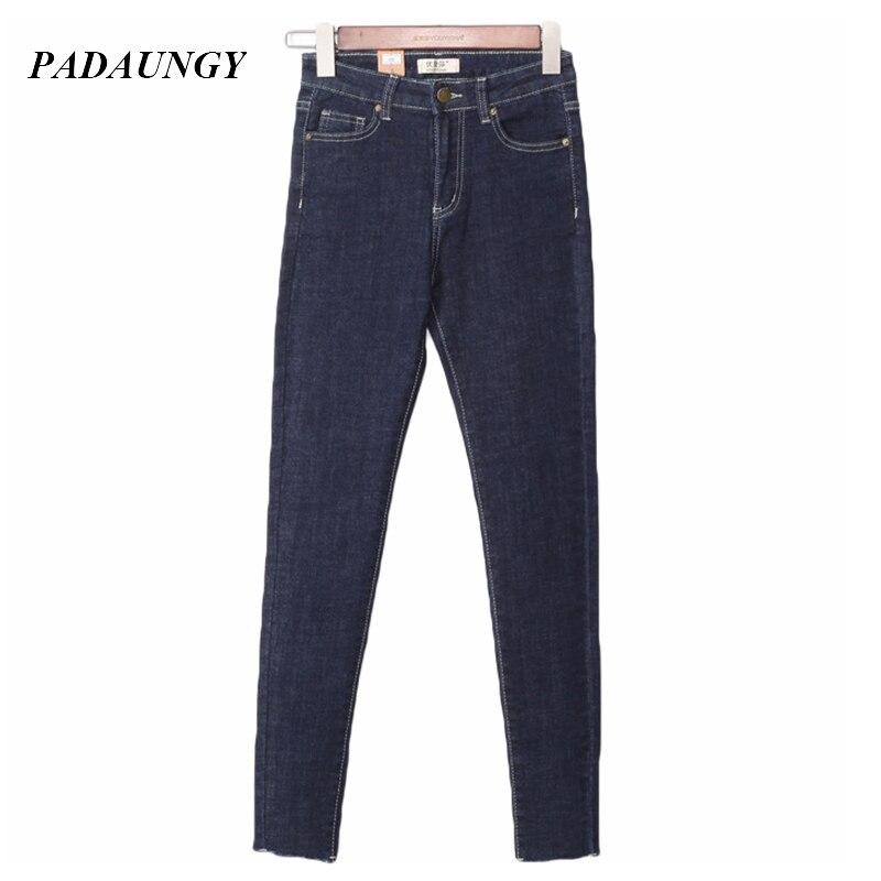 PADAUNGY Slim Women Jeans Pencil Denim Trousers Fitness High Waist Jeggings Plus Size Ladies Pants Autumn Winter Jean PantalonesОдежда и ак�е��уары<br><br><br>Aliexpress