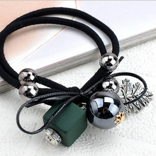 New Fashion Women Acrylic Beads Metal Leaf Rhinestone Balls Bowknot Hair Tie Double Layer Hair Elastic Band leather Scrunchies(China)