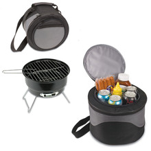 Camping Outdoor mini BBQ grill Stainless Steel Household Family Party Barbecue Brazier Charcoal Portable Cooking Tools w/ Bag