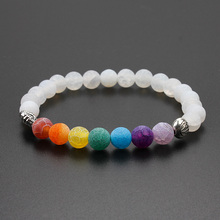 2017 Handmade Jewelry 7 Colorful Chakra Natural Stone Beads Yoga Bangle Alloy Metal Silver Plated Elephant Bracelet For Women(China)