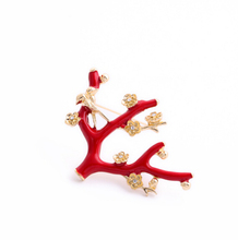 Korean Exquisite  Plated Red Glaze Bird Branch Tree  Sweater Brooch P11