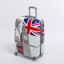 24 inch pc male and female hardside trolley luggage on universal wheels,uk flag,london tower,london bus travel rolling luggages(China)