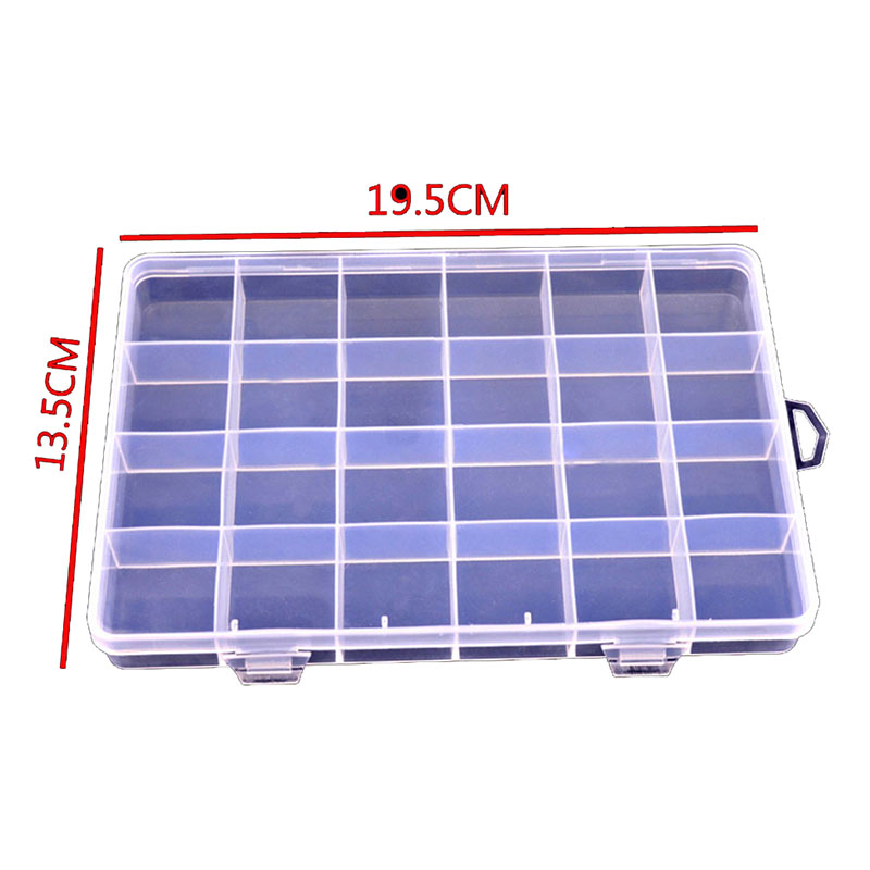 ONNPNNQ Clear Plastic 24 Slots Adjustable Jewelry Nail Art Rhinestone Empty Storage Box Case Craft Travel Organizer Bead Holder3
