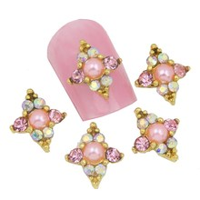 10Pcs/Lot Women Cheap Nail Jewelry Retail Glitter Rhinestone&Pearl&Crystal 3D Alloy Nail Charm Manicure Styling Tools MA0096