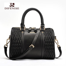 Difenise Genuine Leather Women Boston Handbags Tote Hot bags Duffle Medium Grain Boston Bag White Black Blue Available(China)