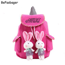 "14"" Large Capacity Kids Canvas Bag 2 Rabbits Kid Drawstring Bag Primary School Bags Girls Backpack with Side Pockets for Student"