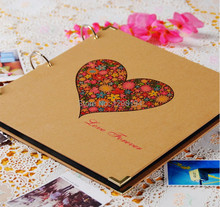 12 Inch Big Vintage Handmade DIY Photo Album Kraft Scrapbooking Book Birthday Couples Wedding Best Gift