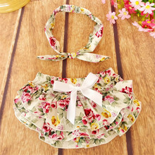 Summer style new design Ruffle Panties Bow Decorate Unisex Ruffle Baby Bloomers with headband one set free shipping(China)