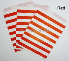 50 Pcs/2 Pack Red Horizontal Stripes Treat Craft Bags Favor Food Paper Bags Party Wedding Birthday Decoration Color 1
