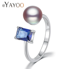 AYAYOO Rings Charms 925 Sterling Silver Rings For Women Real Freshwater Pearls Engagement Ring Big Stone/ Cubic Zirconia Ring(China)