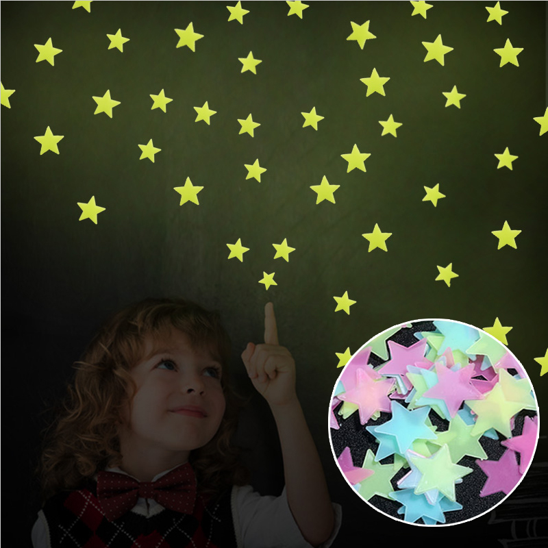 50Pcs DIY Colorful Wall Stickers Luminous Star Sticker Fluorescent Glow In The Dark Baby Kids Bedroom Decal Stars Home Decor(China (Mainland))