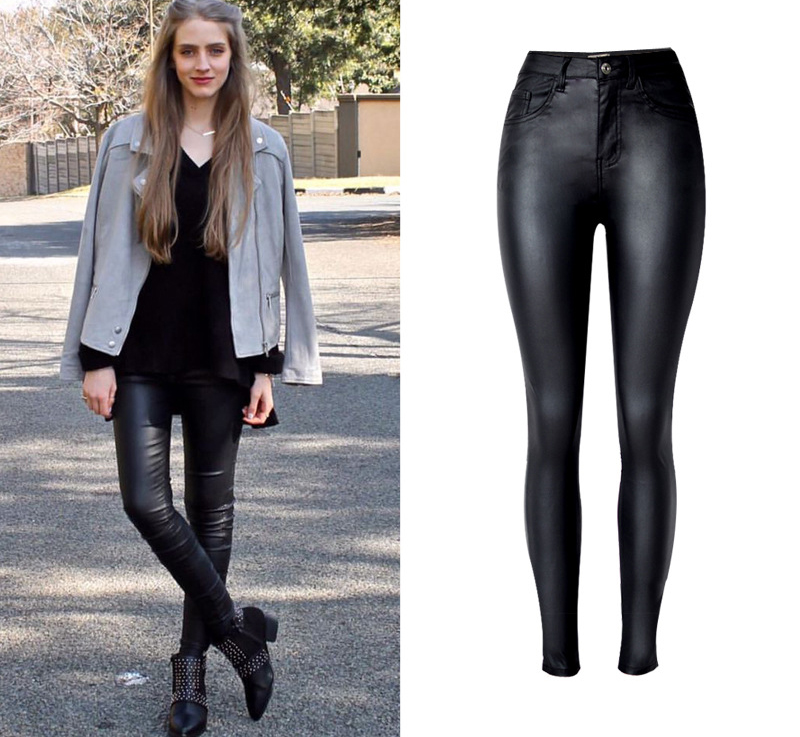 2017 New Hot Eu Models Women Sexy Slim PU Pockets Leather Pencil Pants Motor Style All-Match Fleece Trousers Slim Faux Leather (3)