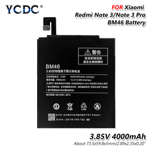 Smart Phone Original 3.85V 4000mAh BM46 Phone Battery Xiaomi Redmi Note 3 Note3 Pro Original 3.85V 4000mAh BM46 Li-Po